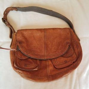 Lucky brand soft tan leather boho shoulder bagL